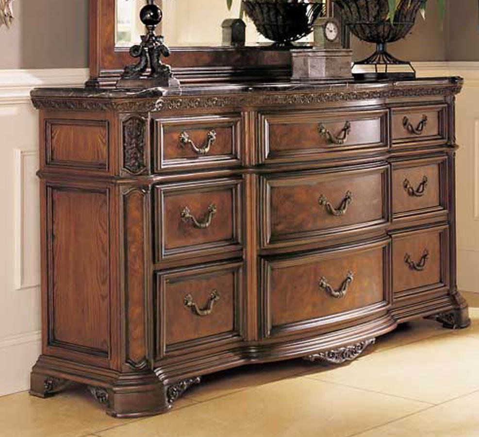 American Drew Grand Revival Dark Dresser Marble Veneer Top