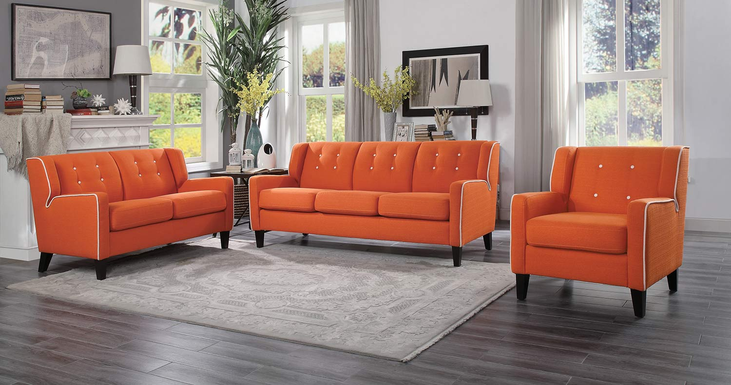 Homelegance Roweena Sofa Set - Orange