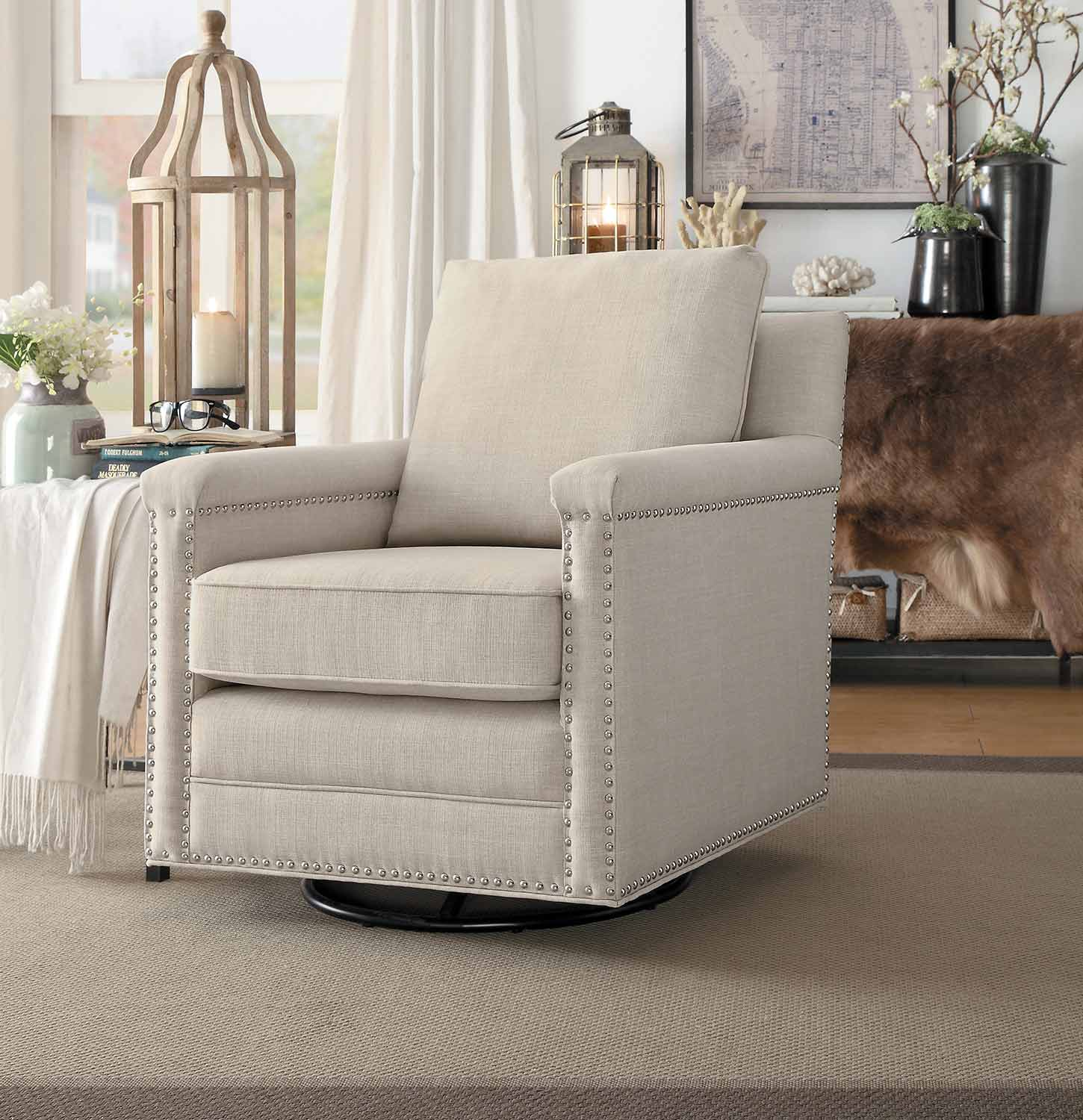Homelegance Oreboro Swivel Chair - Beige