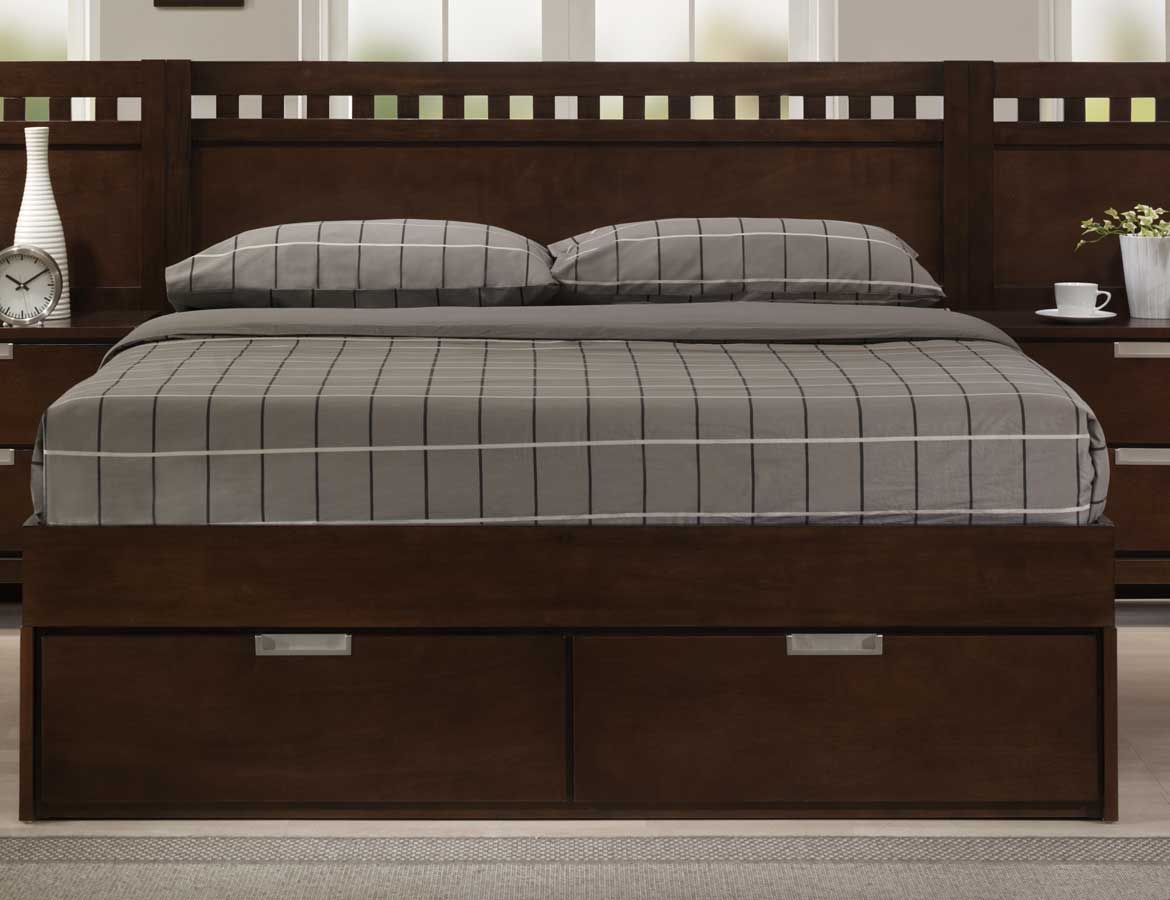 Homelegance Bella Platform Storage Bed in Warm Brown Cherry
