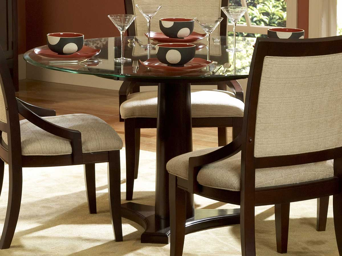 Picture of: Dining Tables Dining Room Tables Bexley Round Glass Dining Table Homelegance
