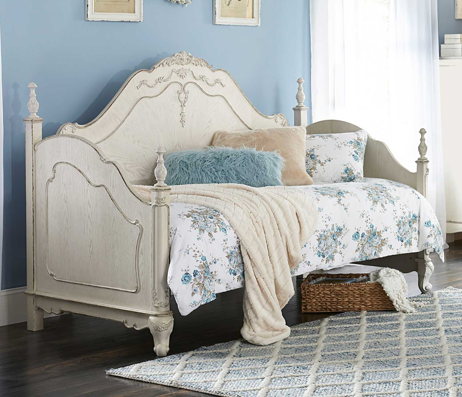 Homelegance Cinderella Daybed - Antique White with Gray Rub-Through