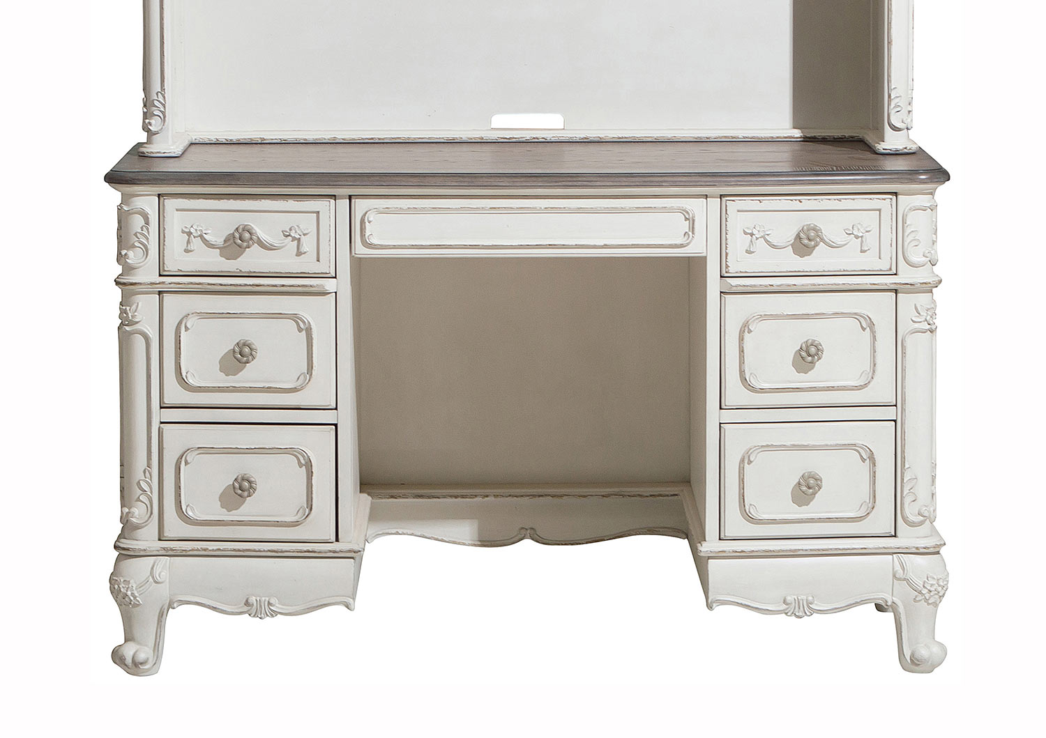 Homelegance Cinderella Writing Desk - Antique White with Gray Rub-Through