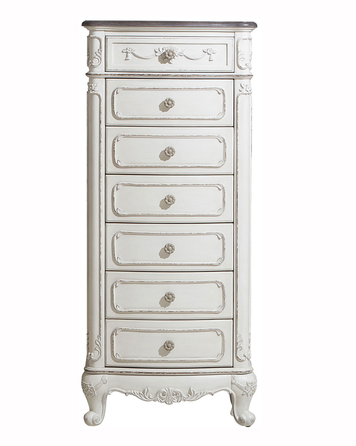Homelegance Cinderella 7-Drawer Tall Chest - Antique White with Gray Rub-Through