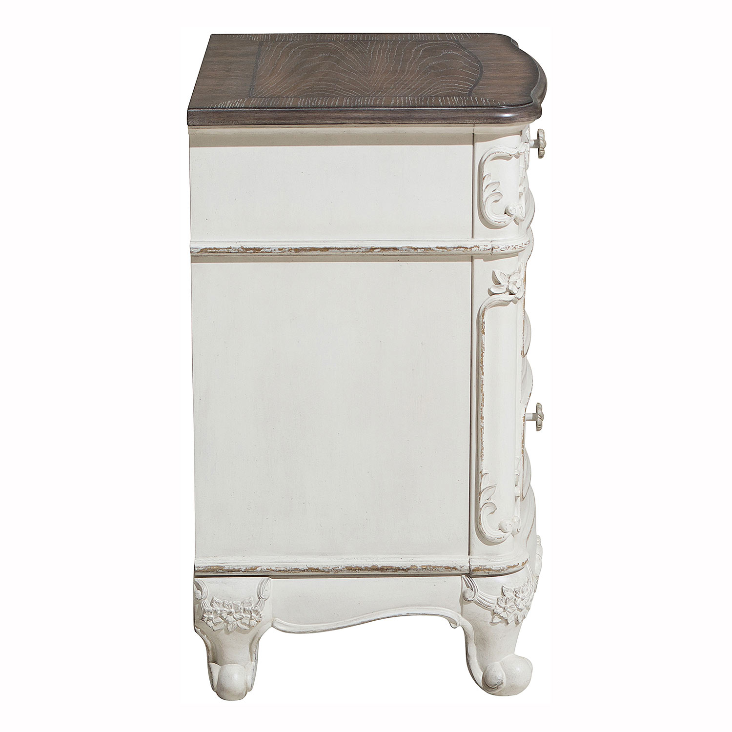 Homelegance Cinderella Night Stand - Antique White with Gray Rub-Through