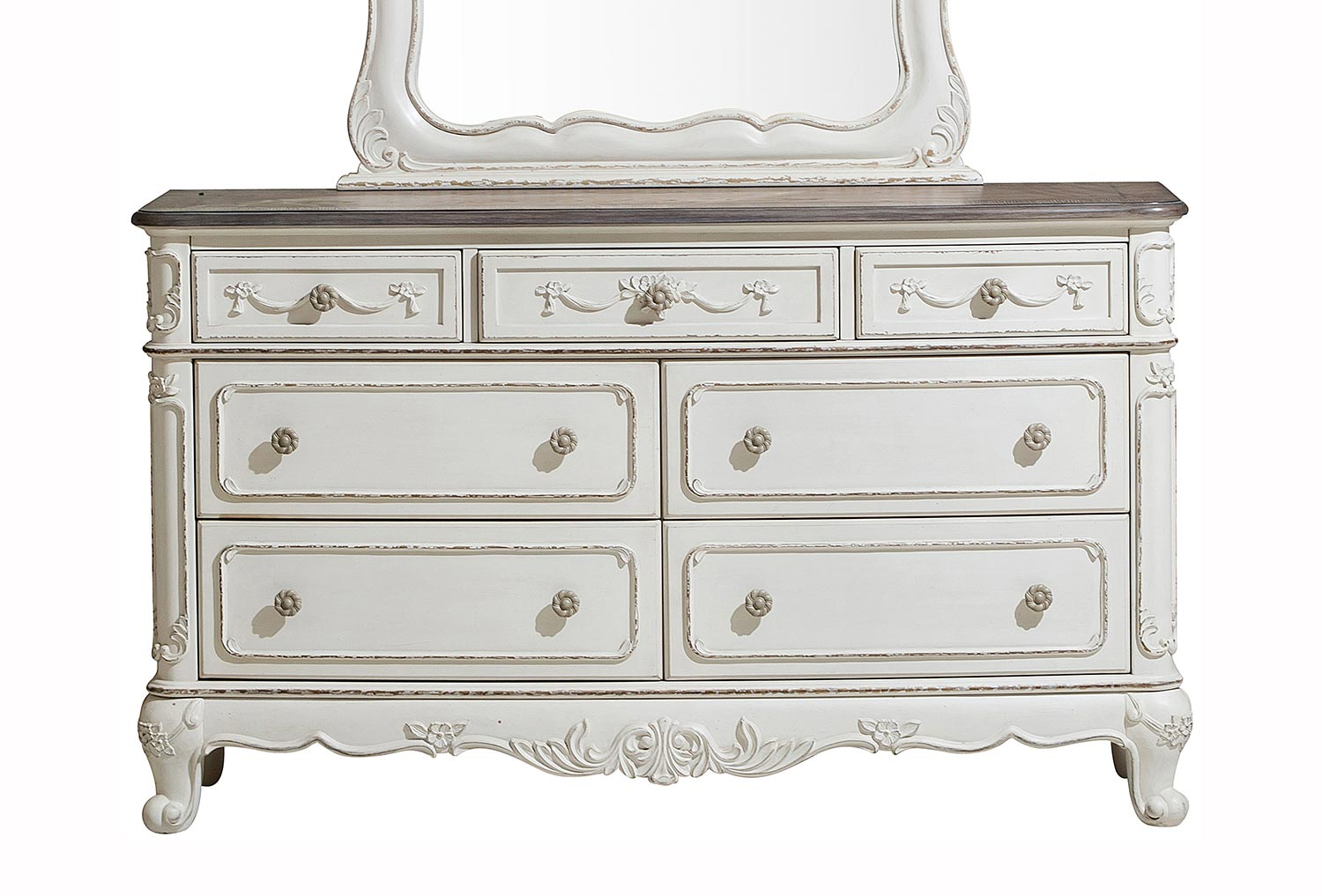 Homelegance Cinderella Dresser - Antique White with Gray Rub-Through
