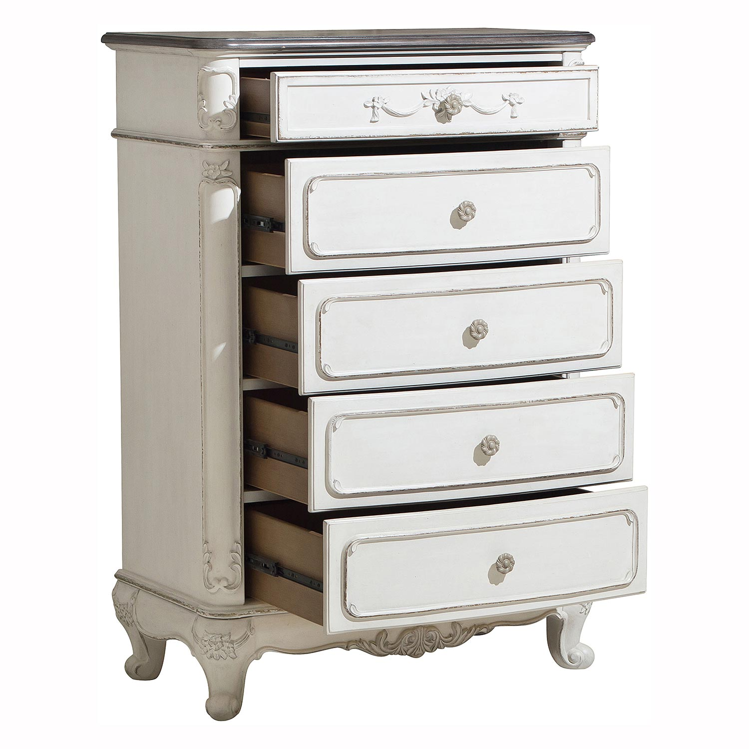 Homelegance Cinderella Chest - Antique White with Gray Rub-Through