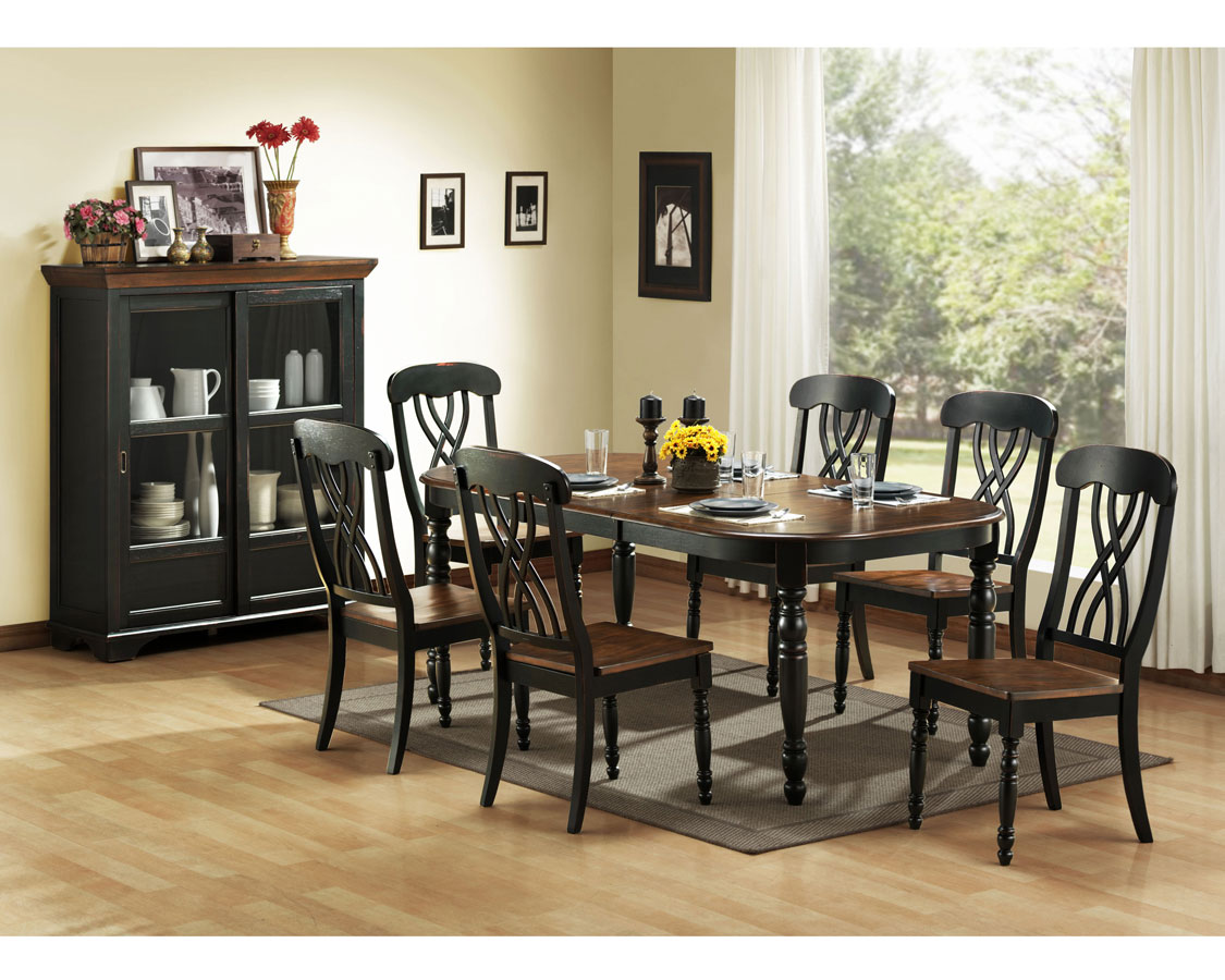 Homelegance ohana black dining collection 1393bk din set for Black white dining room set