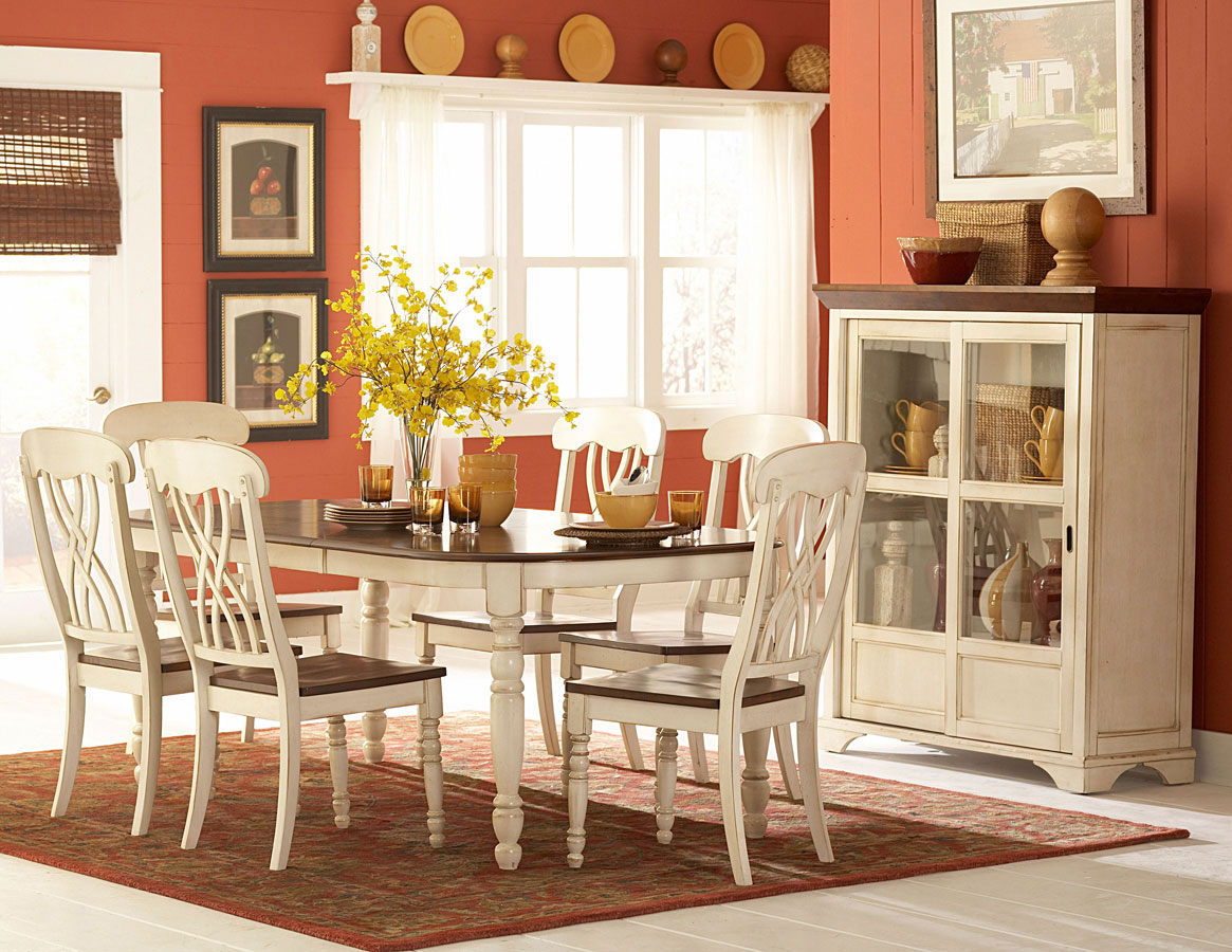 Homelegance ohana white dining collection 1393w din set for 2 tone dining room sets