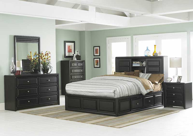 Homelegance Abel Platform Bed with Storage Headboard and Rails