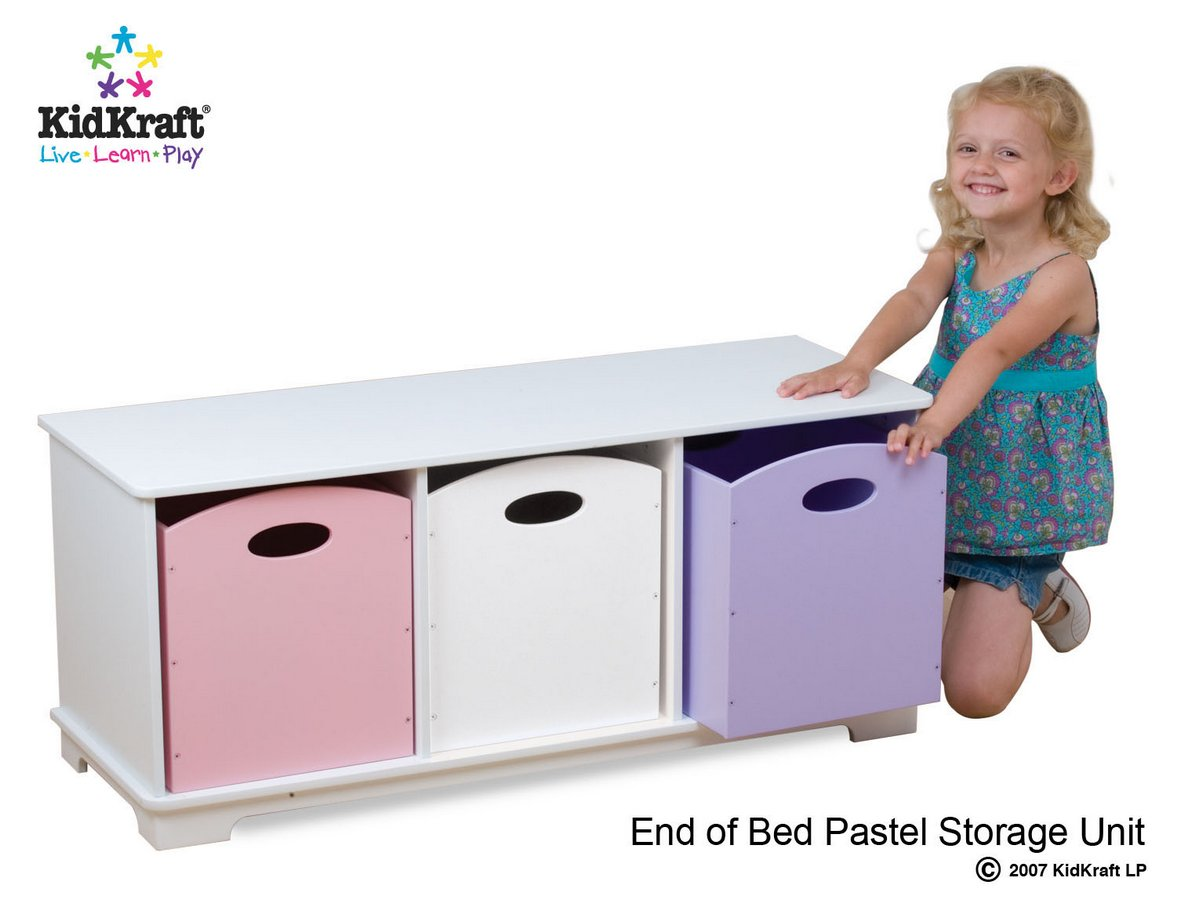KidKraft Storage Bench With Pastel Bins