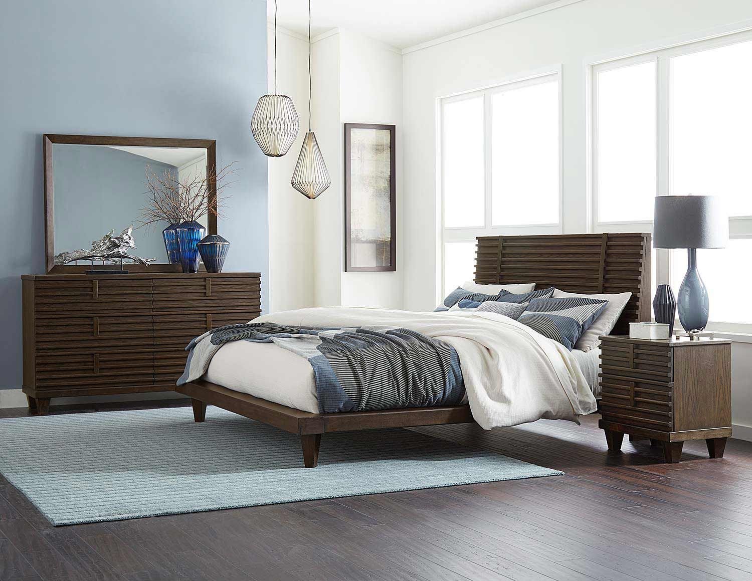 Homelegance Ridgewood Platform Bedroom Set - Rustic Burnished Oak