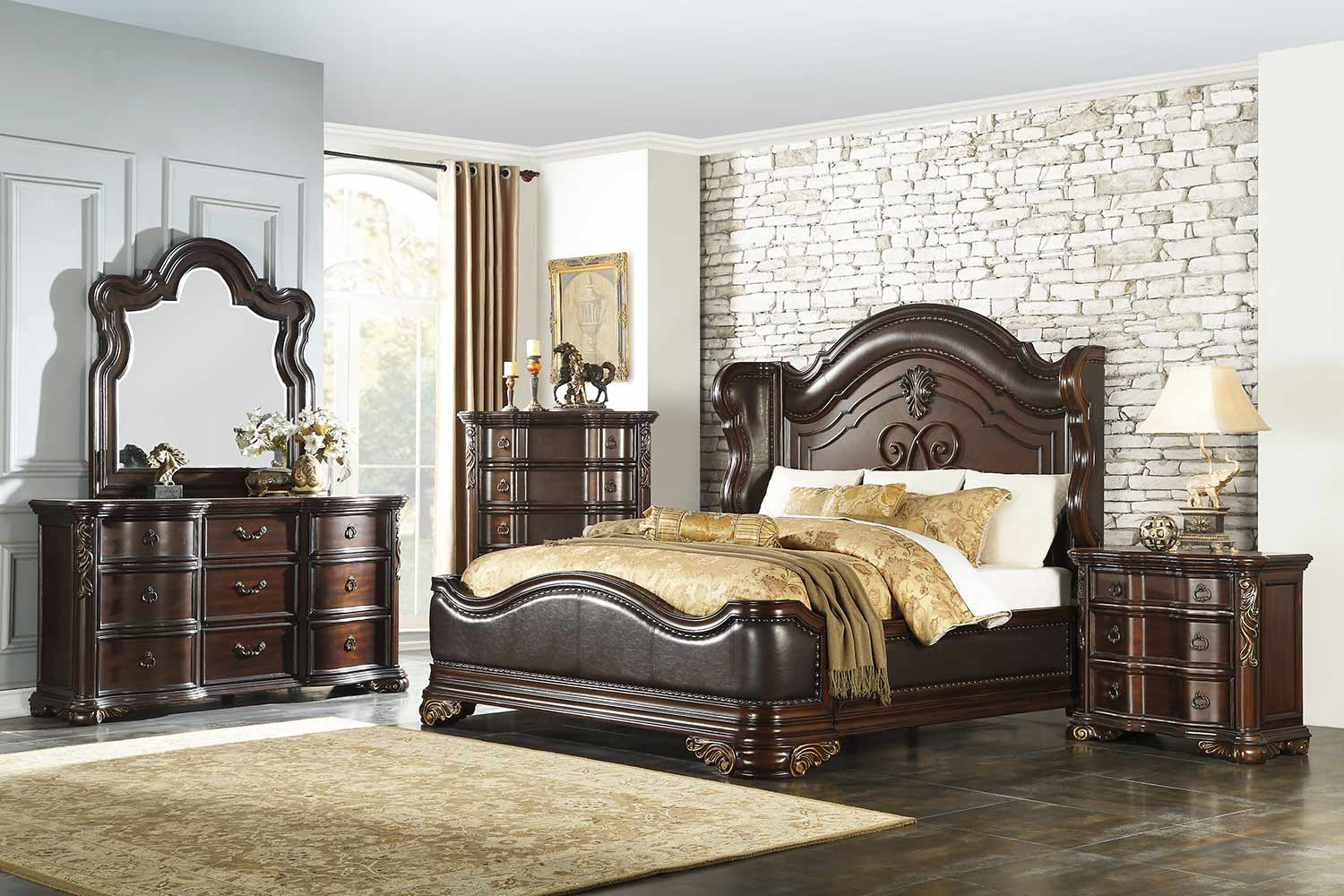 Homelegance Royal Highlands Panel Bedroom Set - Rich Cherry - Brown Bi-Cast Vinyl