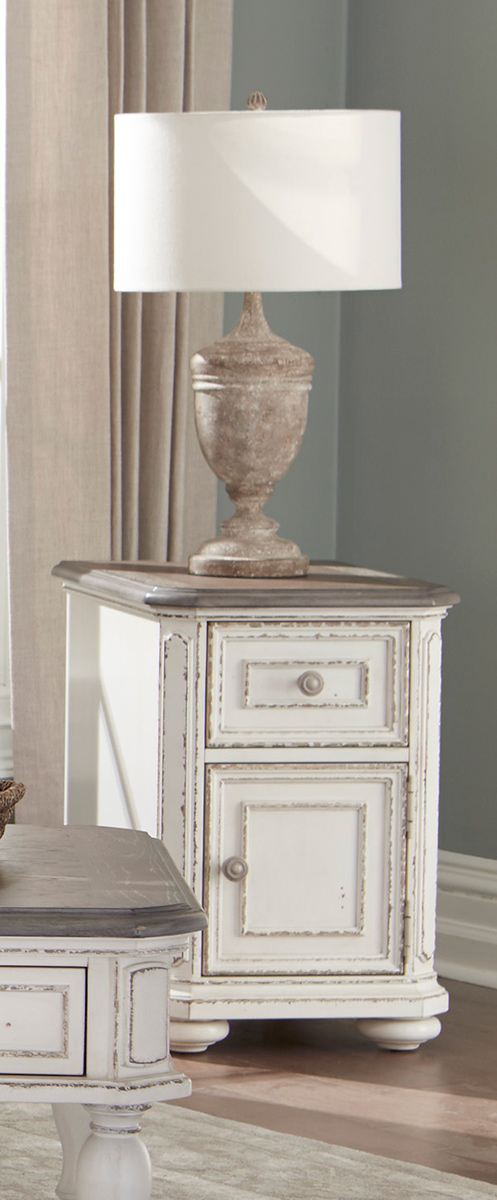 Homelegance Willowick Chairside Table with Functional Drawer and Cabinet - Antique White Rub-Through/Brown Cherry Tops