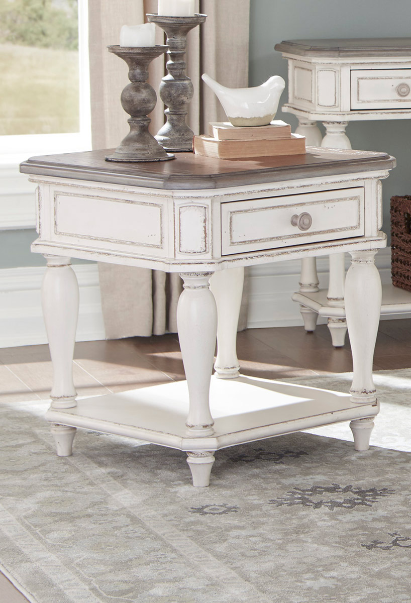 Homelegance Willowick End Table with Functional Drawer - Antique White Rub-Through/Brown Cherry Tops