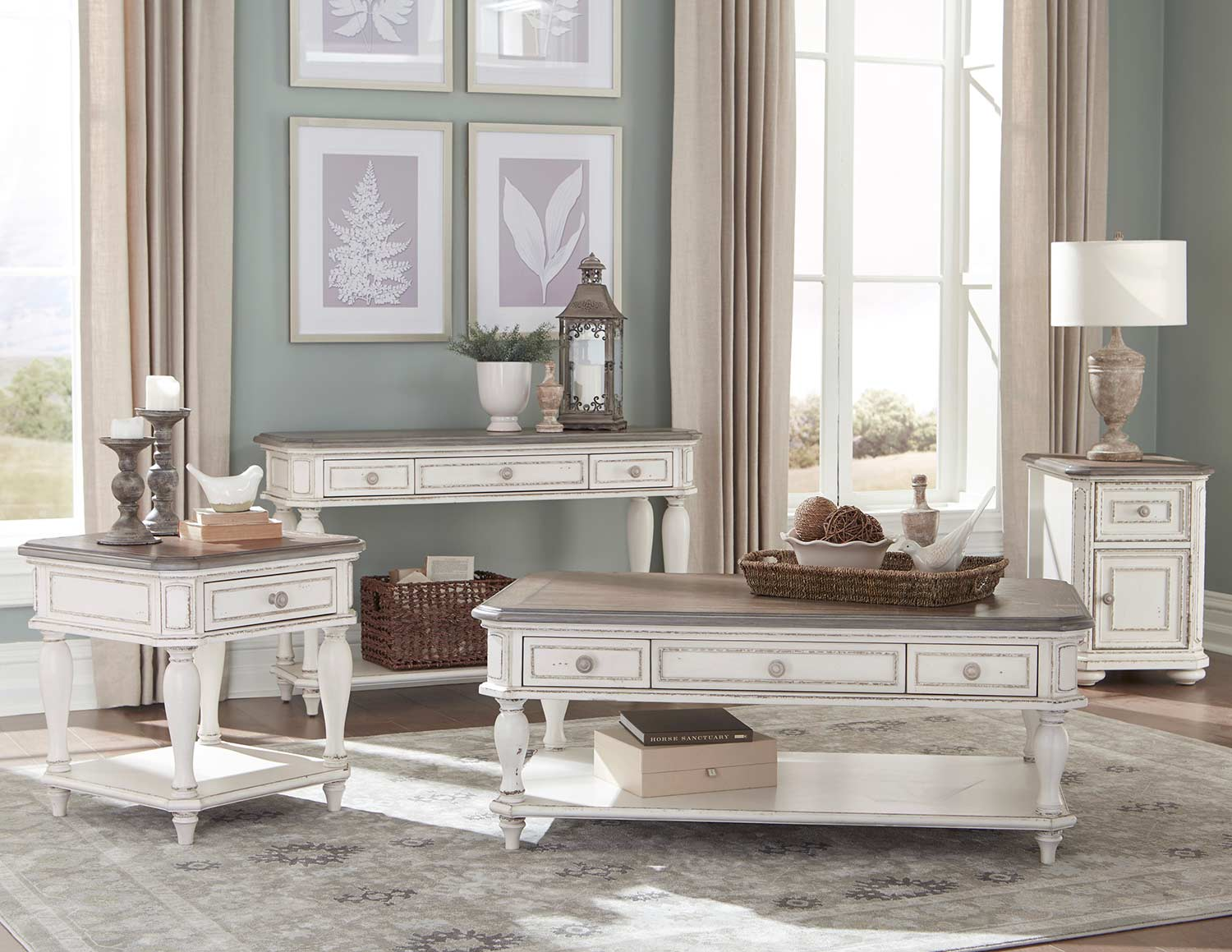 Homelegance Willowick Collection - Antique White Rub-Through/Brown Cherry Tops