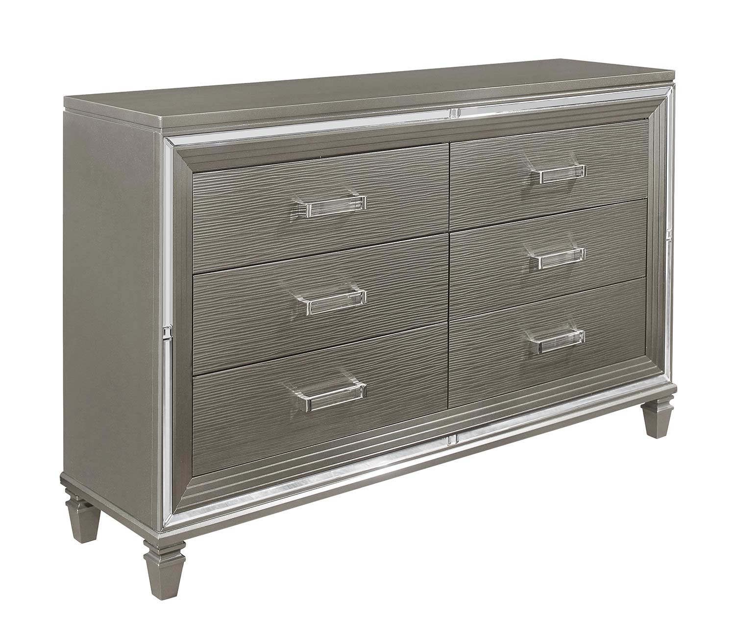 Homelegance Tamsin Dresser with 2 Hidden Jewelry Boxes - Silver-Gray Metallic