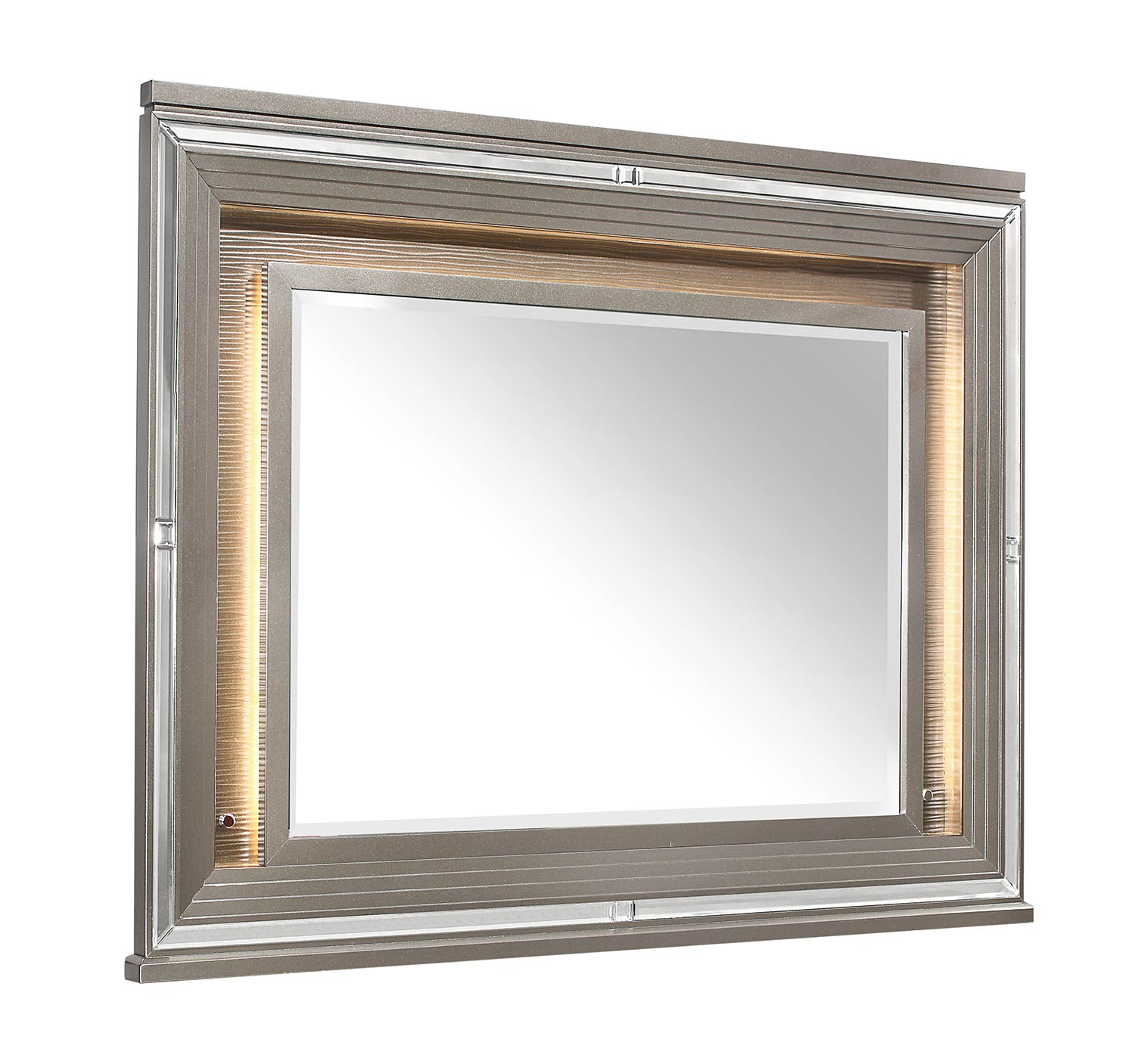 Homelegance Tamsin Mirror with LED Lighting - Silver-Gray Metallic