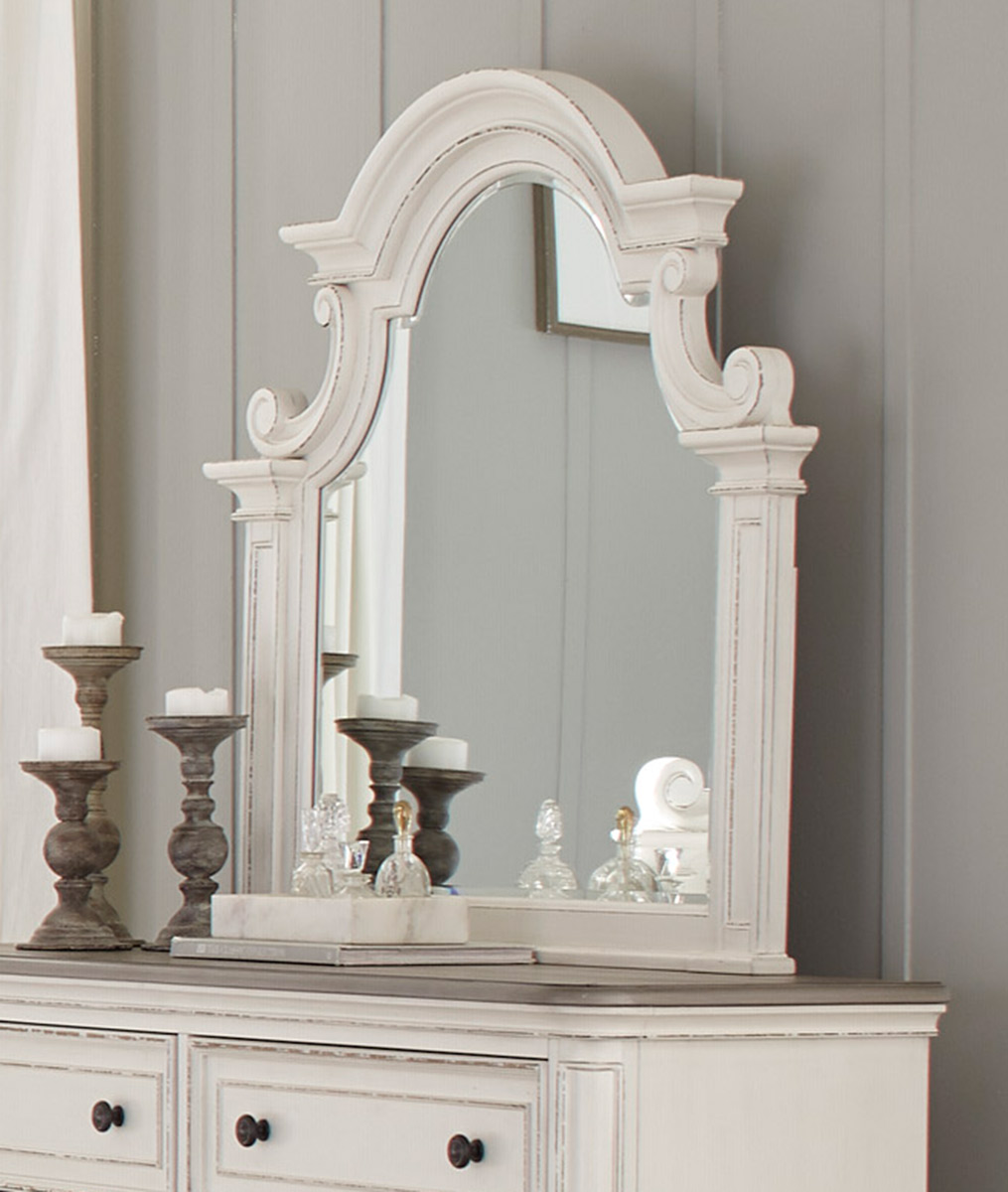 Homelegance Baylesford Mirror - Antique White Rub-Through Finish