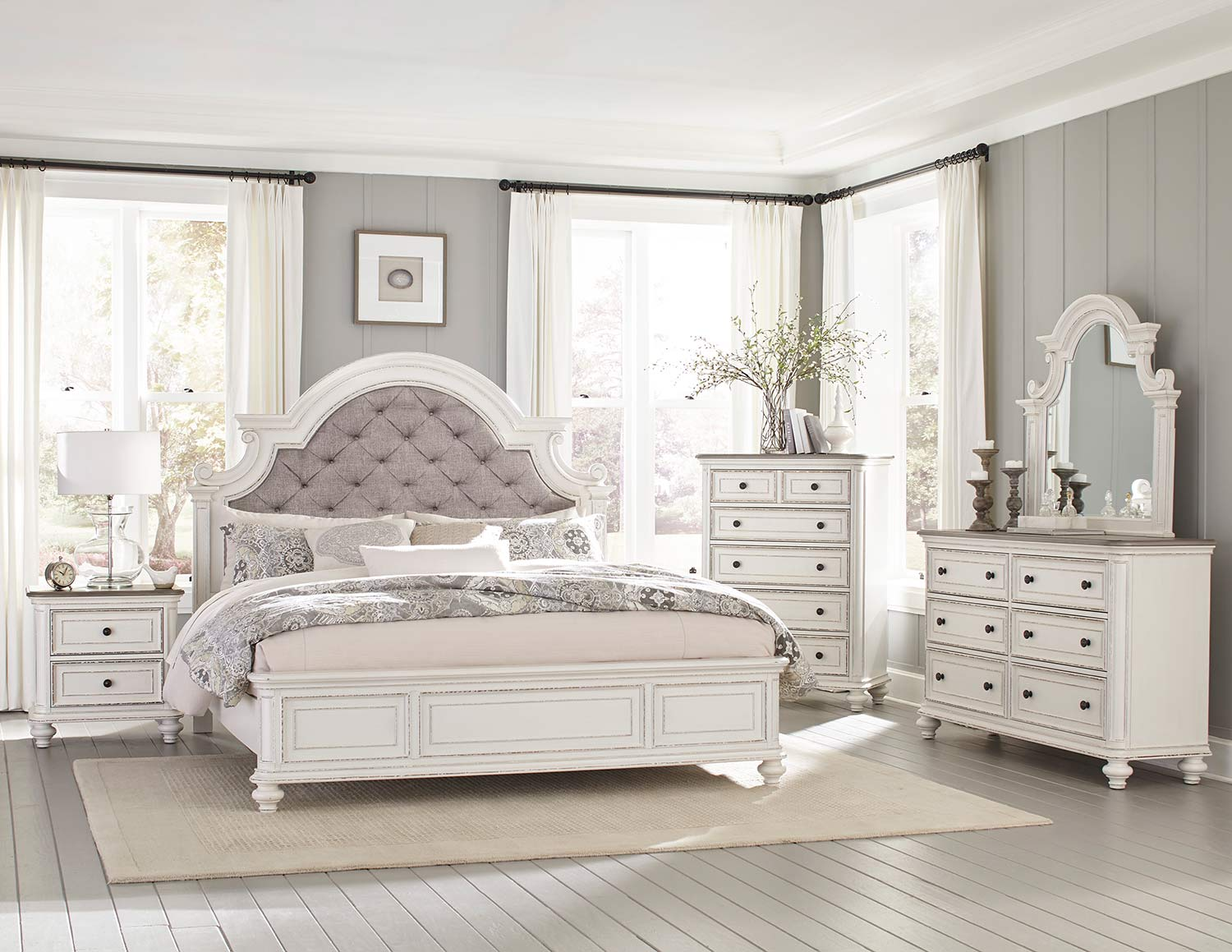 Homelegance Baylesford Bedroom Set - Antique White Rub-Through Finish