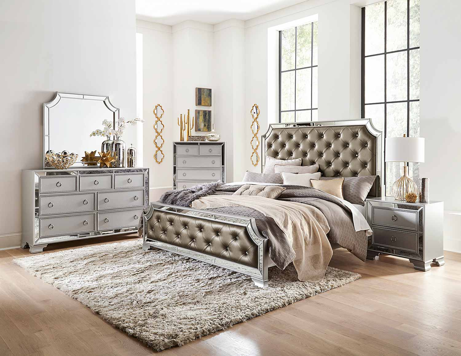 homelegance avondale bedroom set - silver 1646-bedroom set