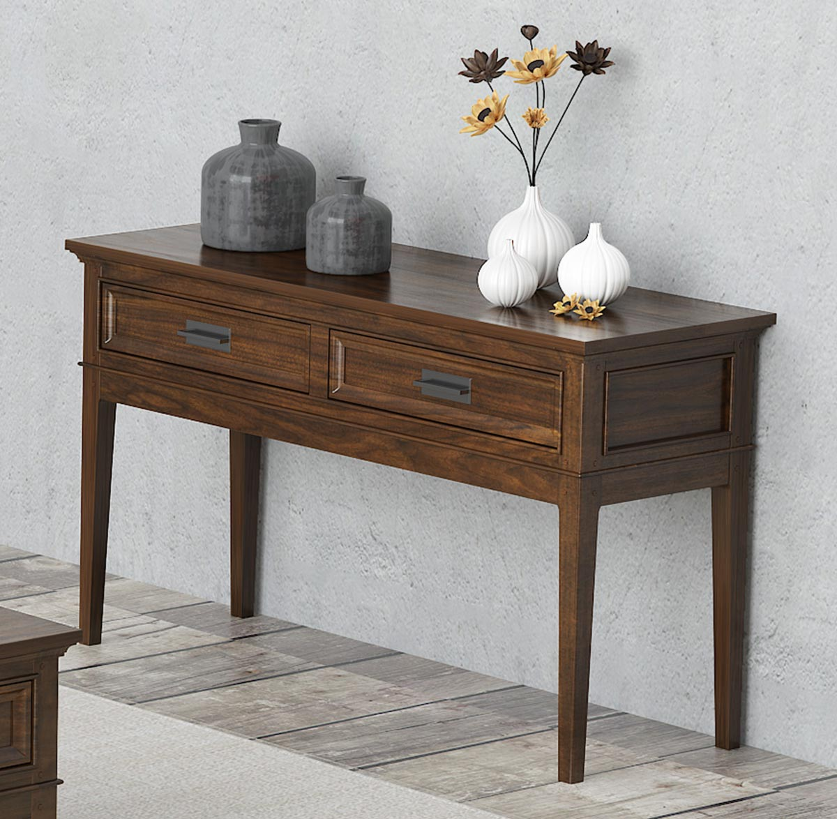 Homelegance Frazier Park Sofa Table with Two Functional Drawers - Brown Cherry