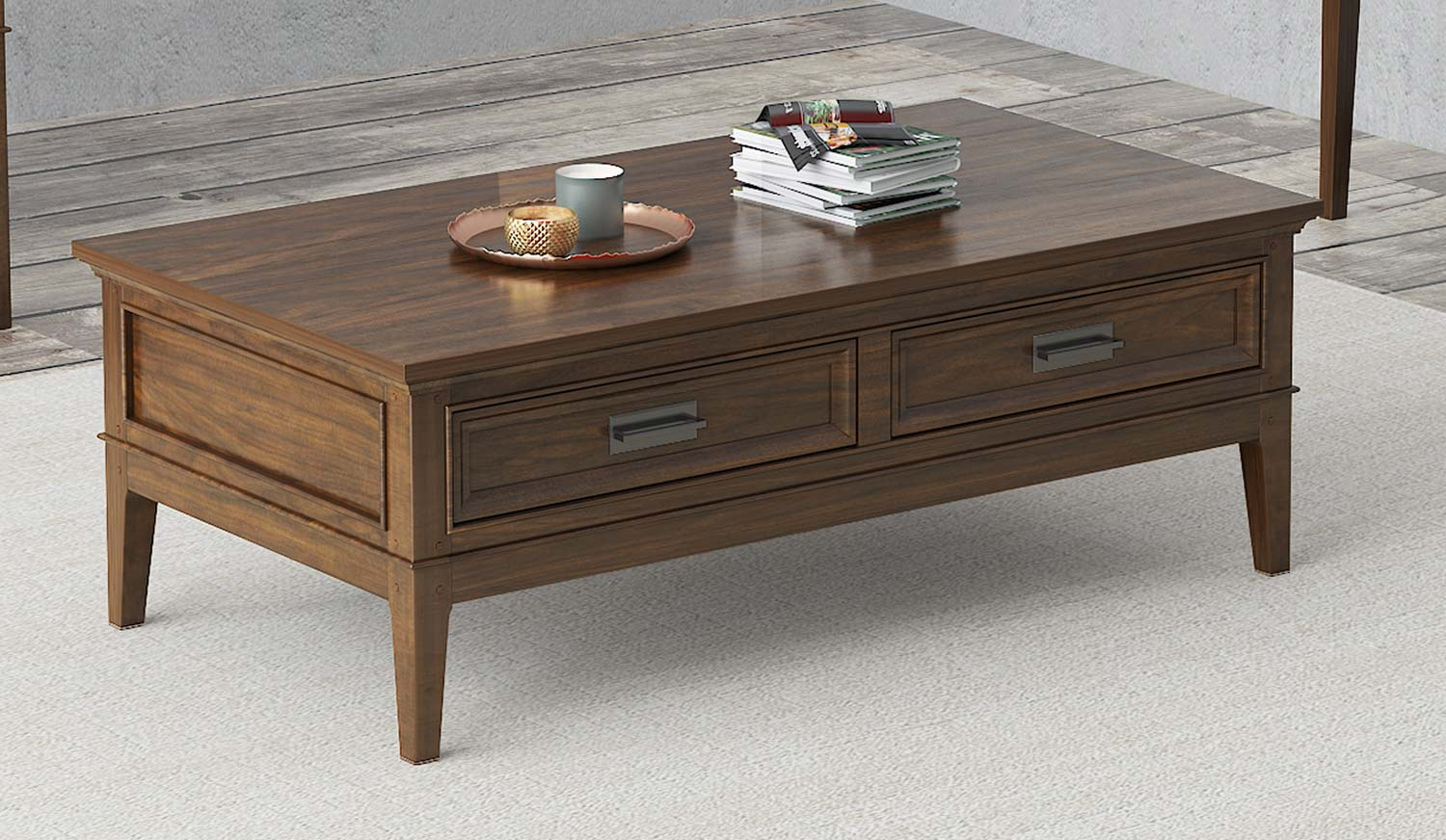 Homelegance Frazier Park Cocktail Table with Two Functional Drawers - Brown Cherry