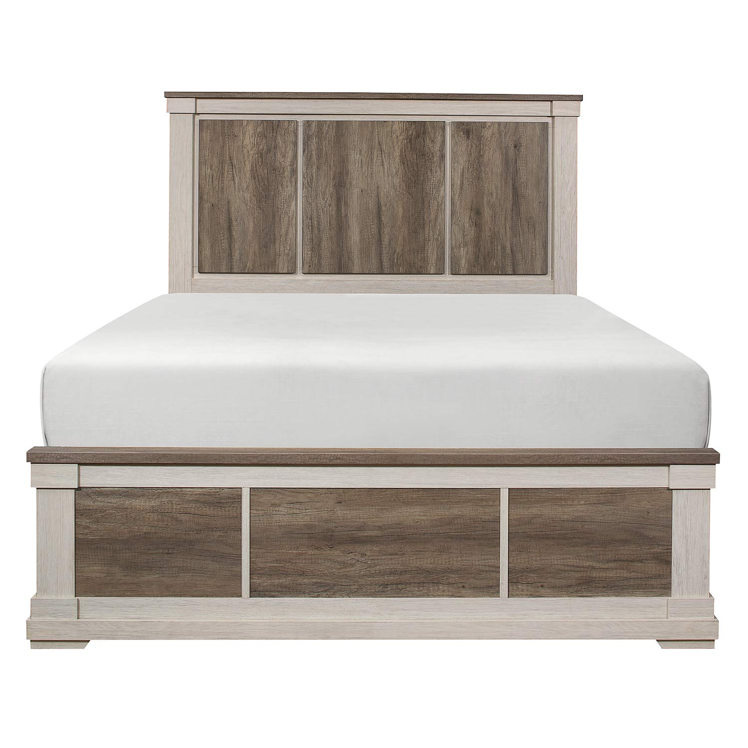 Homelegance Arcadia Bed - White Framing and Variegated Gray Printed Faux-Wood Grain Veneer