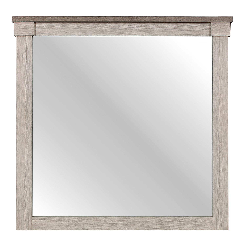 Homelegance Arcadia Mirror - White Framing and Variegated Gray Printed Faux-Wood Grain Veneer