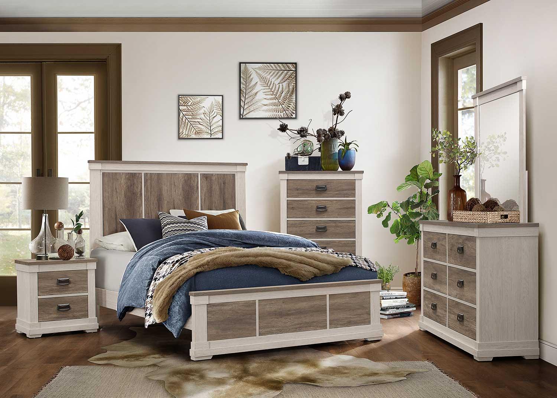 Homelegance Arcadia Bedroom Set - White Framing and Variegated Gray Printed Faux-Wood Grain Veneer