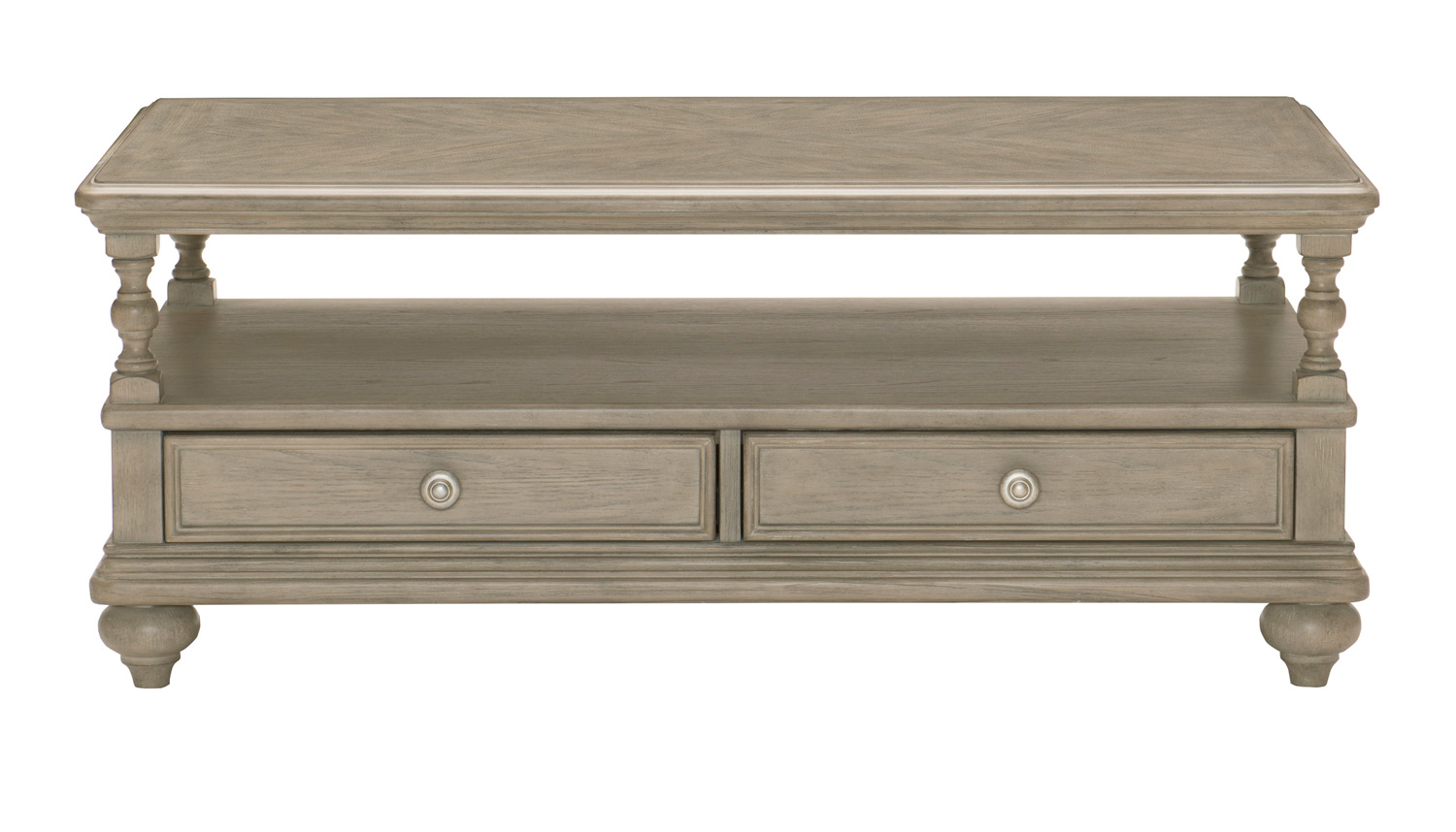 Homelegance Grayling Down Cocktail Table with Two Functional Drawers - Driftwood Gray