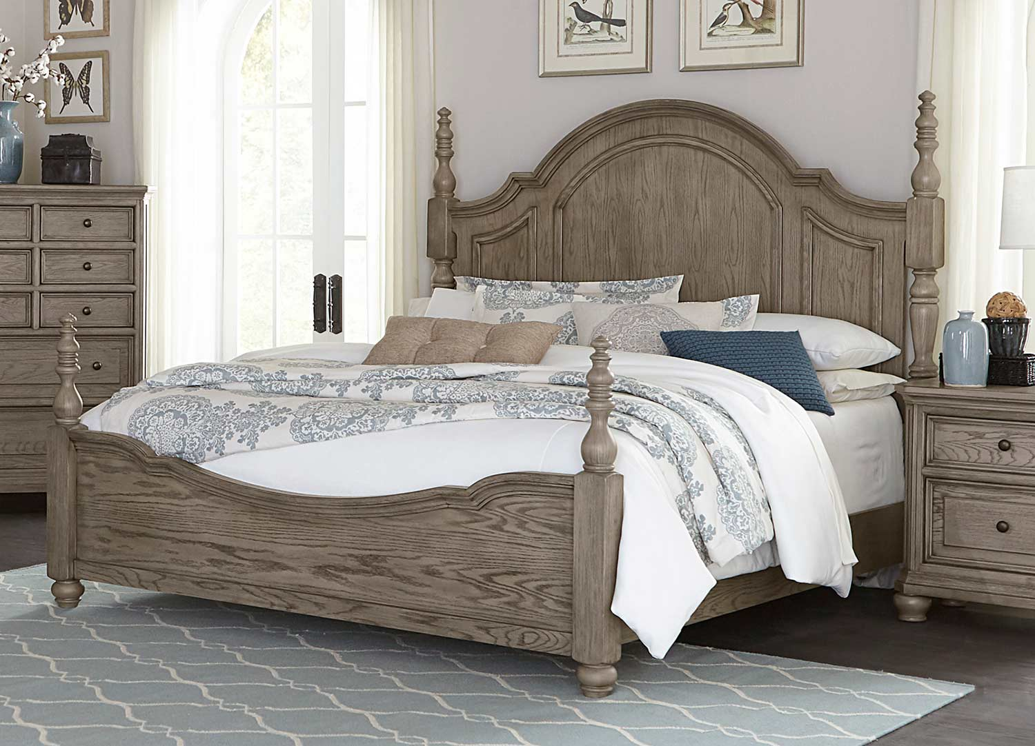 Homelegance Lavonia Poster Bed - Wire-Brushed
