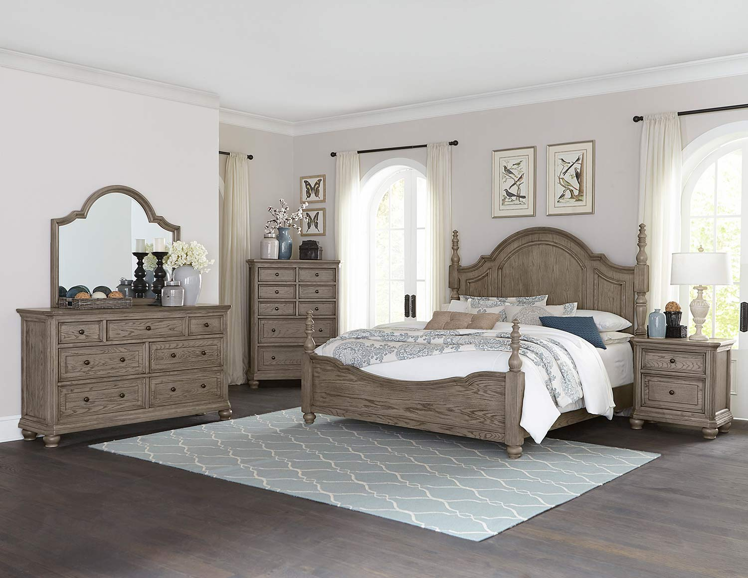 Homelegance Lavonia Poster Bedrom Set - Wire-Brushed