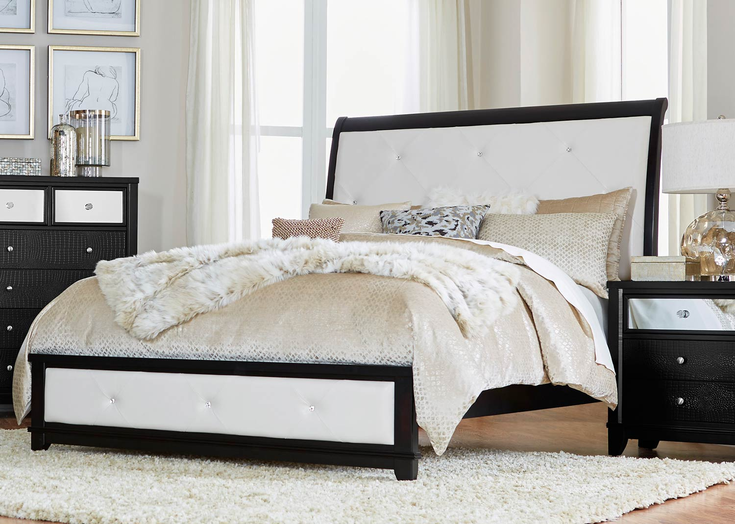 Homelegance Odelia Sleigh Bed - Black - Pearl White Bi-Cast Vinyl