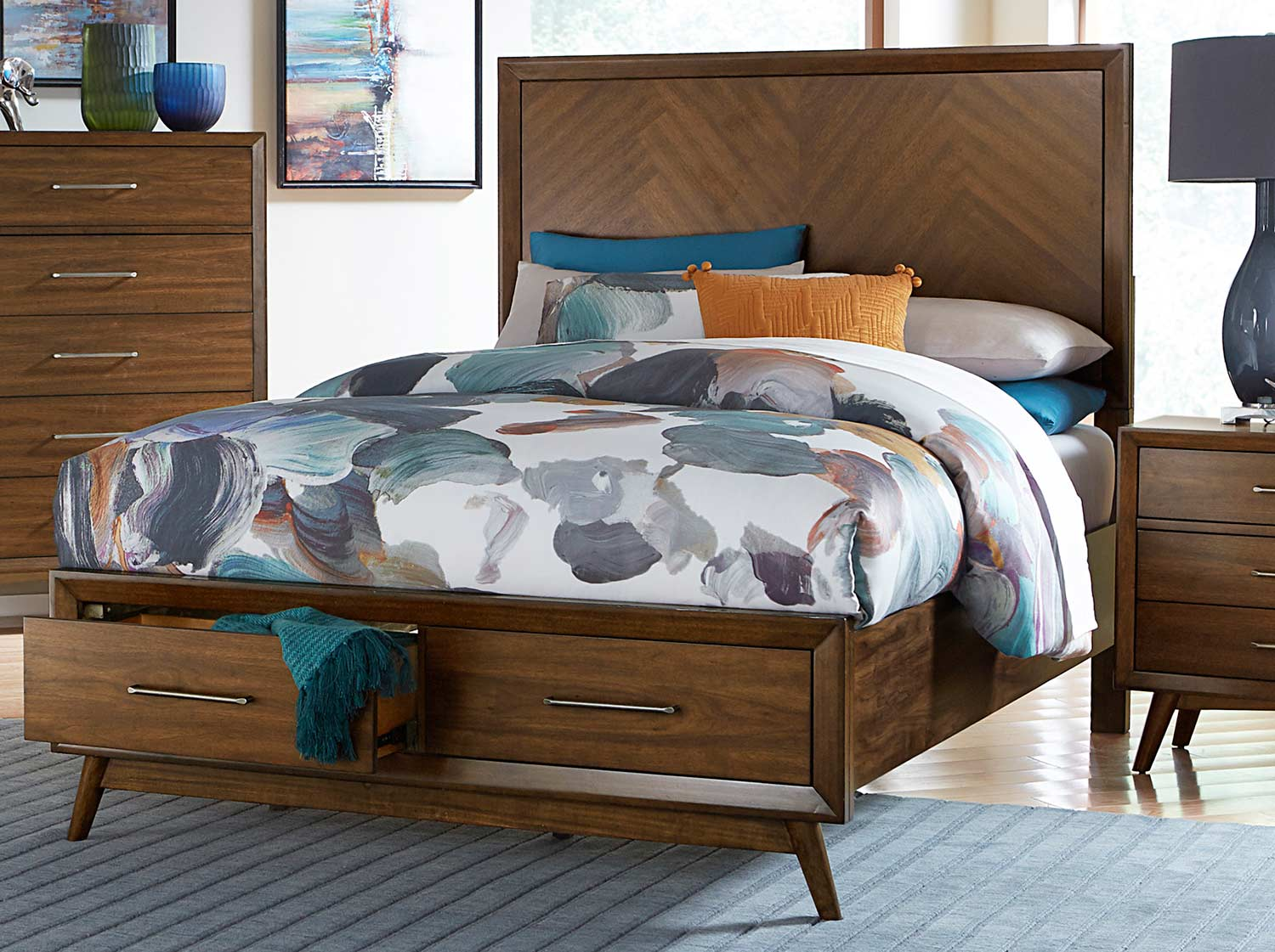 Homelegance Raku Platform Bed - Warm Walnut
