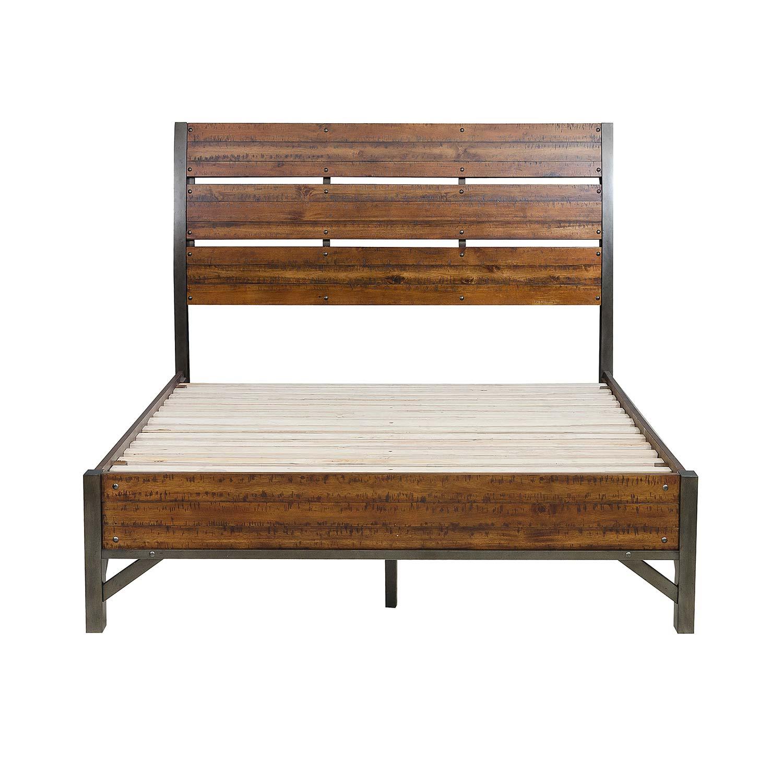 Homelegance Holverson Platform Bed - Rustic Brown Milk Crate Finish