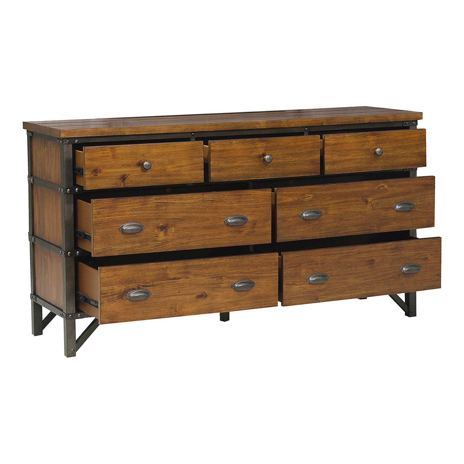 Homelegance Holverson Dresser - Rustic Brown Milk Crate Finish