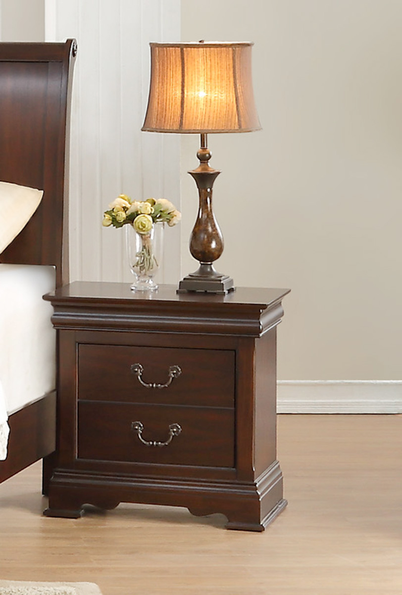 Homelegance Clematis Night Stand - Cherry