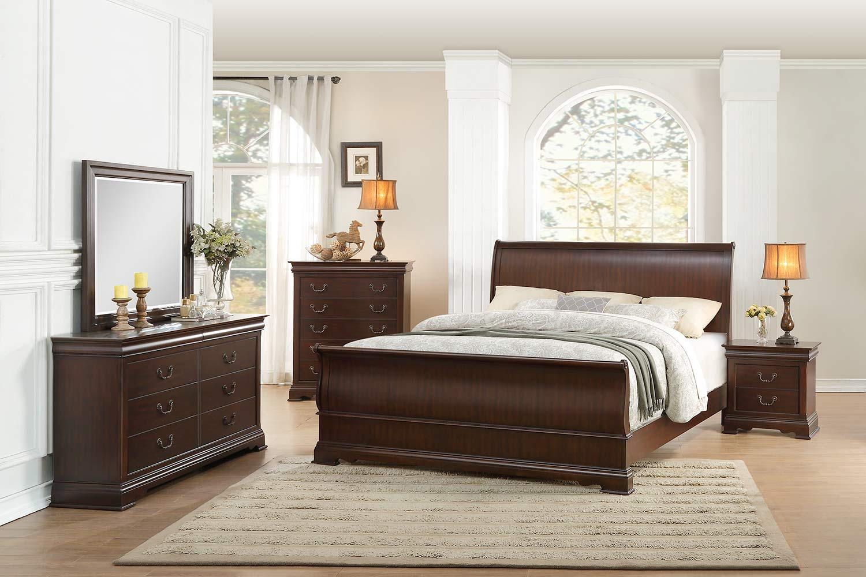Homelegance Clematis Sleigh Bedroom Set - Cherry