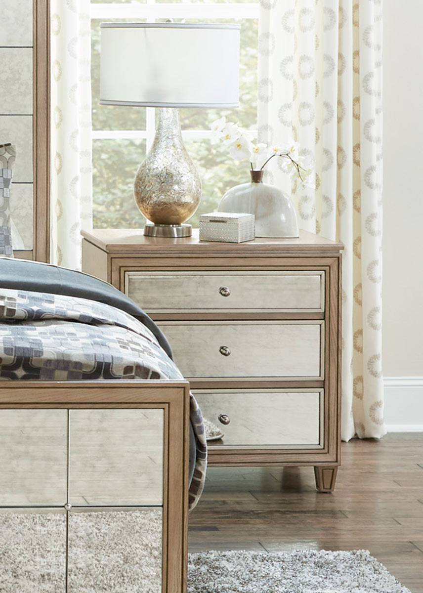 Homelegance Kalette Night Stand - Light Oak - Antiqued mirrored