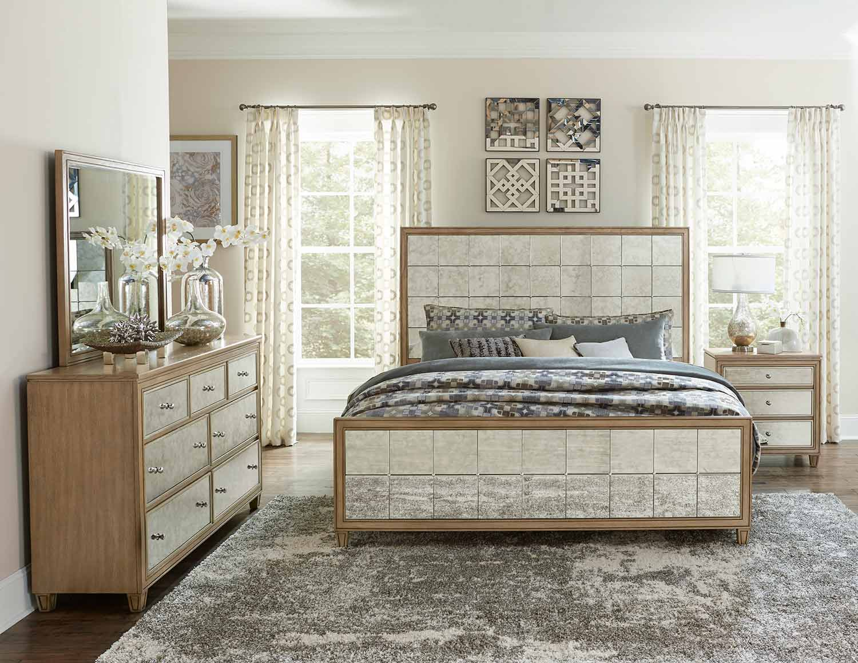 Homelegance Kalette Panel Bedroom Set - Light Oak - Antiqued mirrored