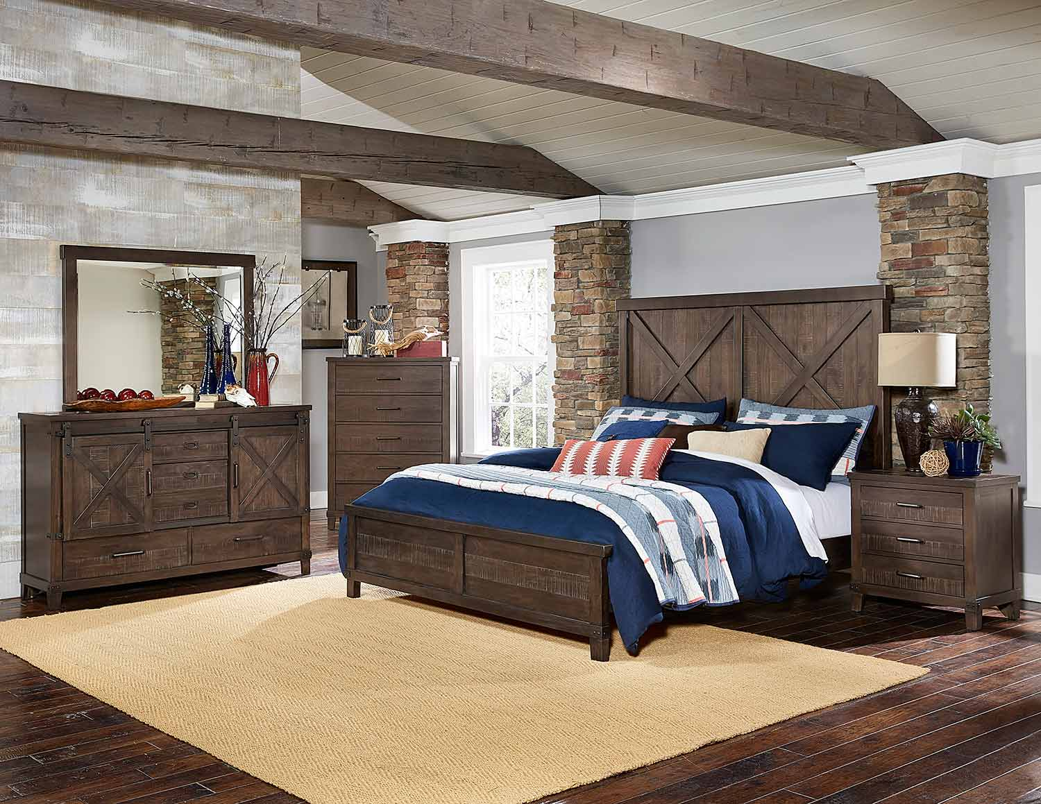 Homelegance Hill Creek Panel Bedroom Set - Rustic Brown