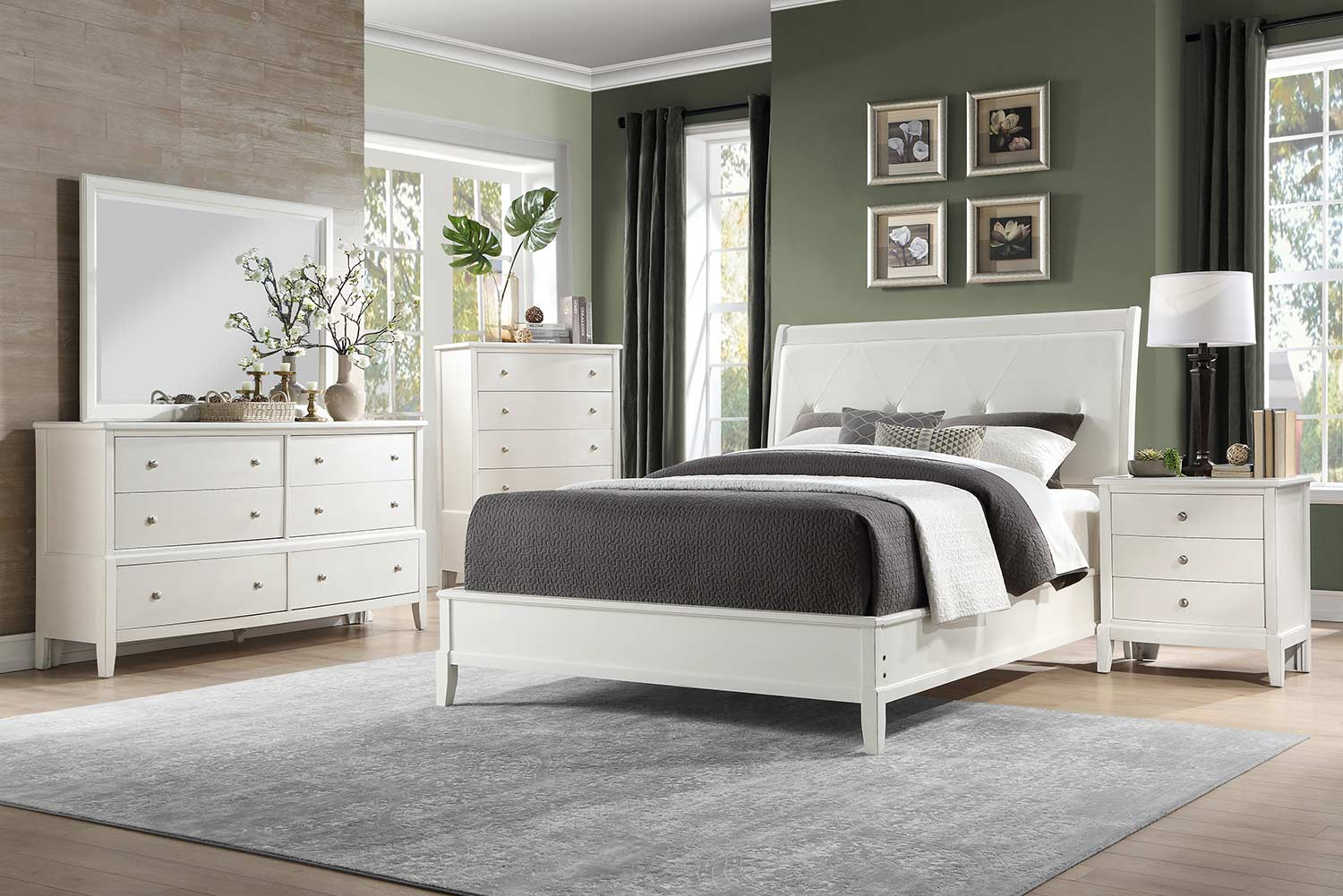 Homelegance Cotterill Bedroom Set - White Finish over Birch Veneer