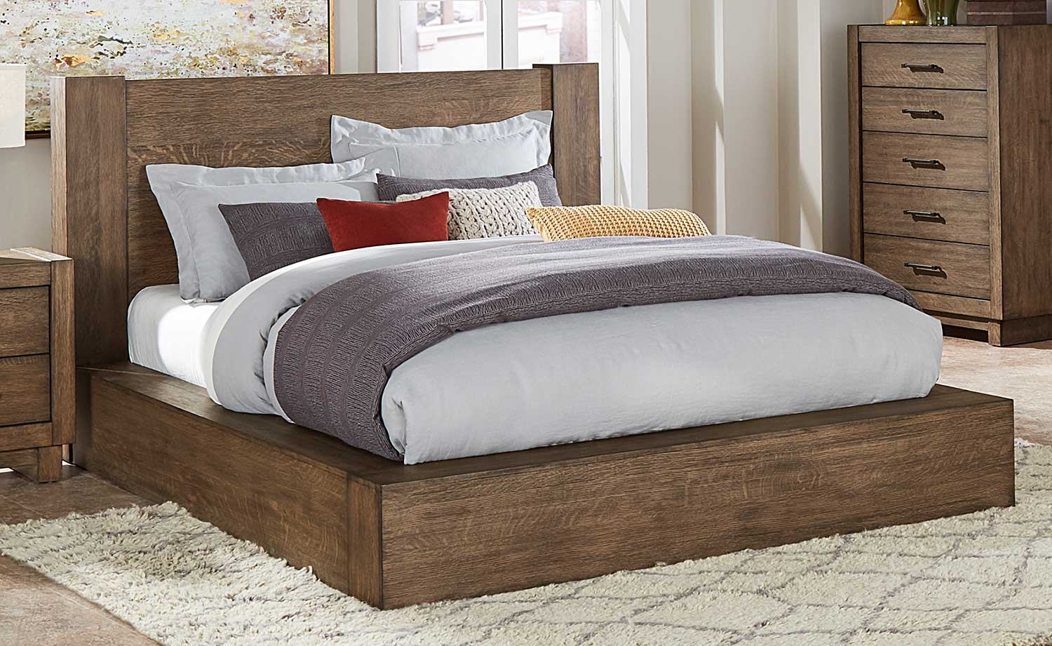 Homelegance Korlan Platform Bed - Brown Oak