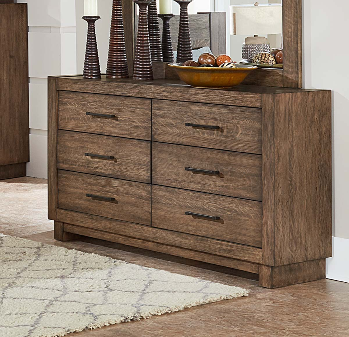 Homelegance Korlan Dresser - Brown Oak