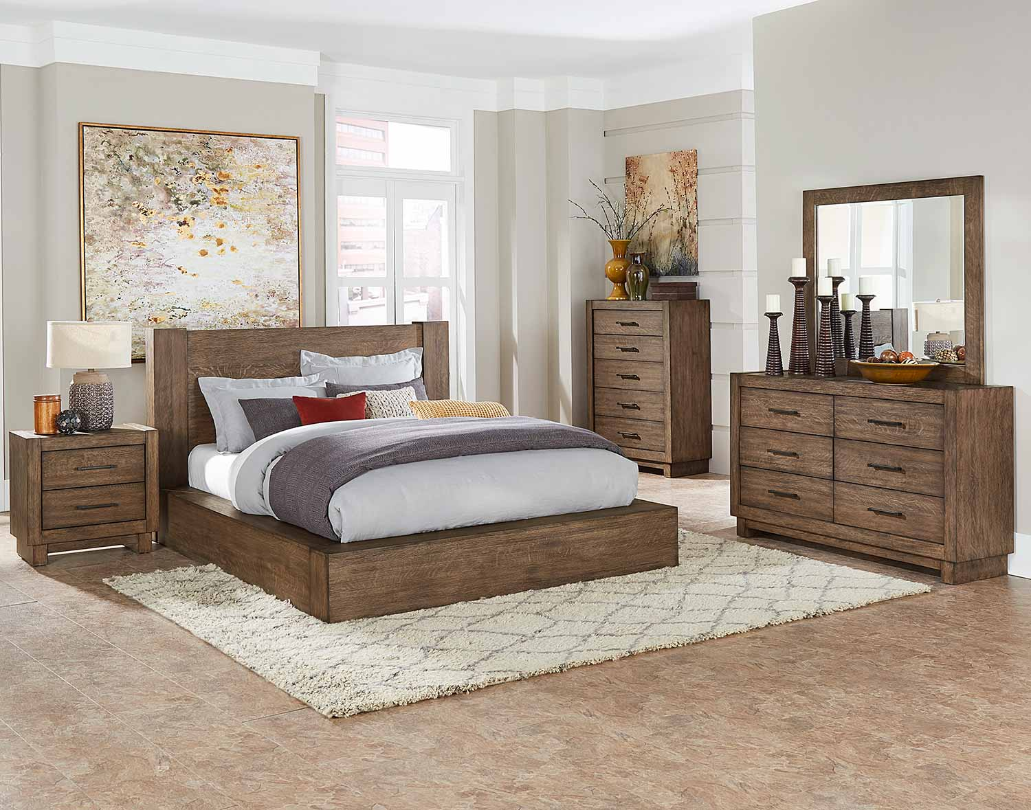 Homelegance Korlan Platform Bedroom Set - Brown Oak