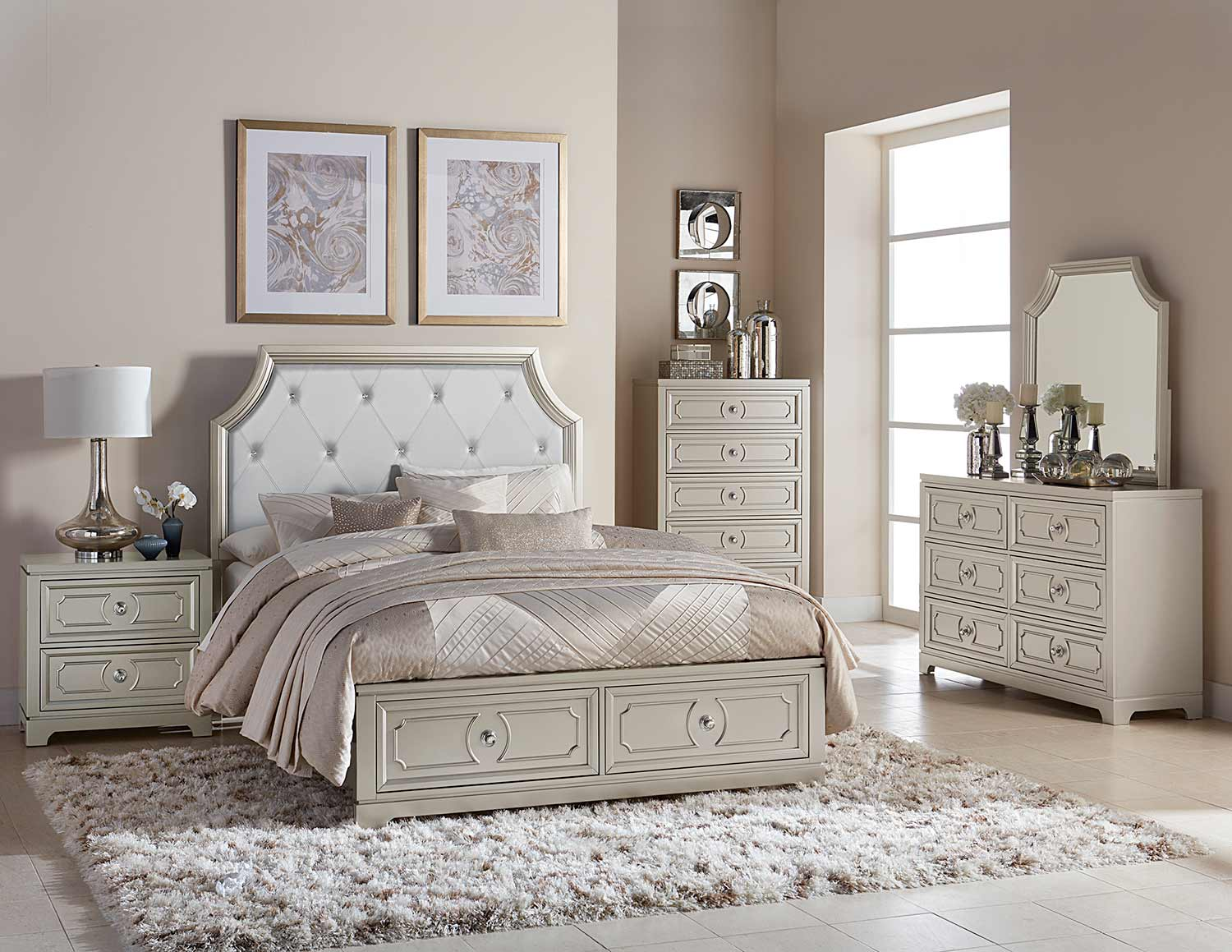 Homelegance Libretto Platform Bedroom Set - Silver - Light Gray Bi-Cast Vinyl