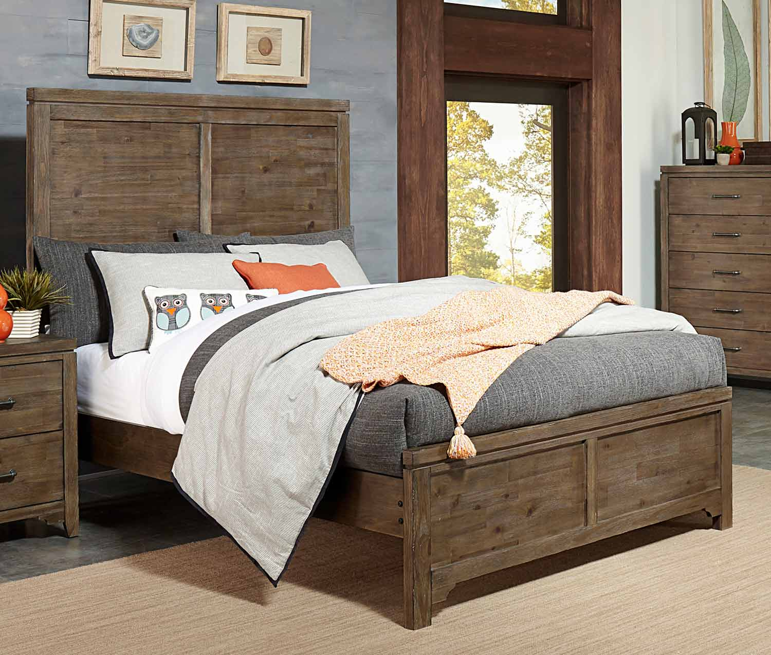 Homelegance Lyer Panel Bed - Rustic Brown
