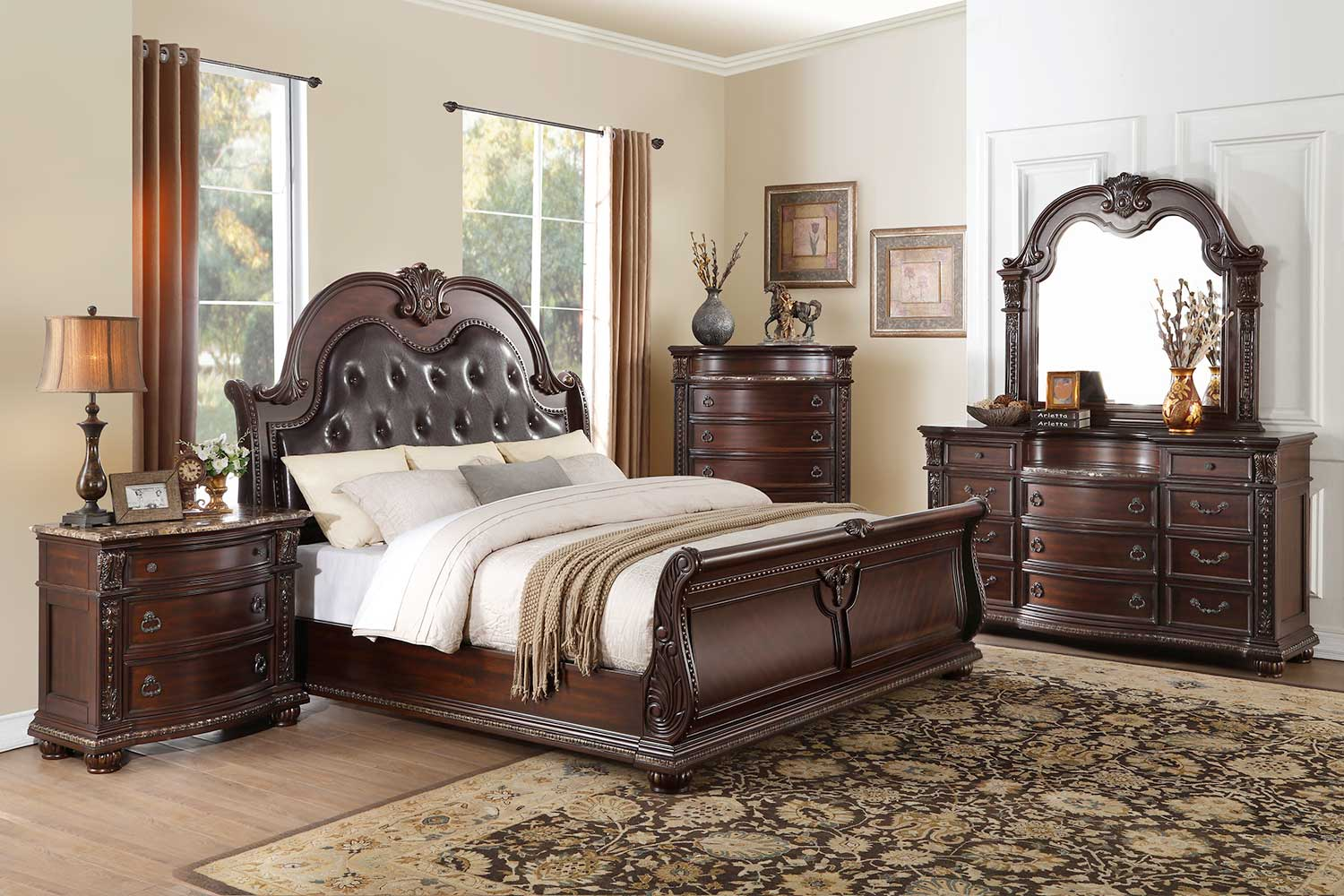 Homelegance Cavalier Sleigh Bedroom Set - Dark Cherry - Brown Bi-Cast Vinyl