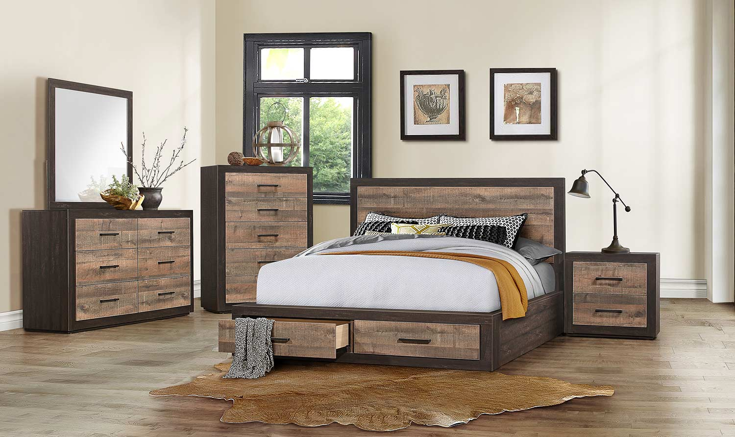 Homelegance Miter Platform Bedroom Set - Mahogany & Ebony